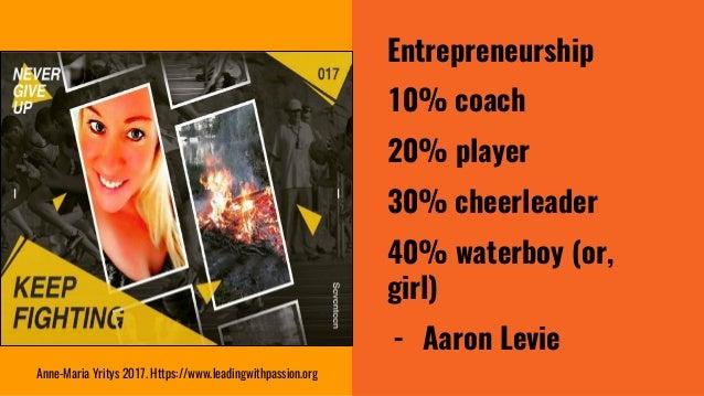 Entrepreneurship 10% coach 20% player 30% cheerleader 40% waterboy (or, girl) - Aaron Levie Anne-Maria Yritys 2017. Https:...