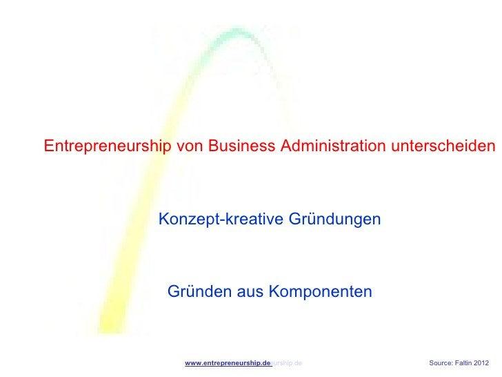Entrepreneurship von Business Administration unterscheiden              Konzept-kreative Gründungen               Gründen ...