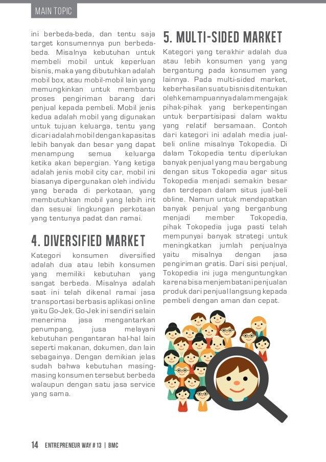 Entrepreneur Way #13 | BMC14 Main Topic 4. Diversified Market 5. Multi-sided Market Kategori konsumen diversified adalah d...