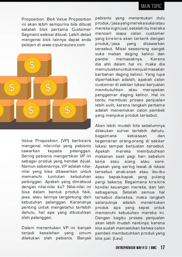 Entrepreneur Way #13 | BMC 17 Proposition. Blok Value Proposition ini akan lebih sempurna bila dibuat setelah blok pertama...