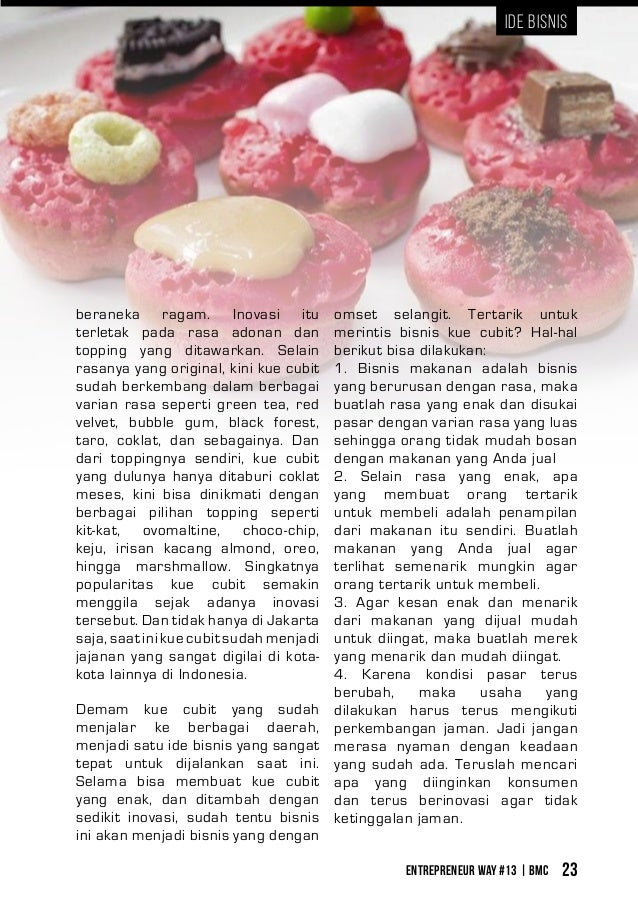 Entrepreneur Way #13 | BMC 23 Ide Bisnis Demam kue cubit yang sudah menjalar ke berbagai daerah, menjadi satu ide bisnis y...