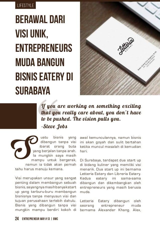 Entrepreneur Way #13 | BMC24 Lifestyle uatu bisnis yang dibangun tanpa visi ibarat orang buta yang berjalan tanpa arah. Ia...