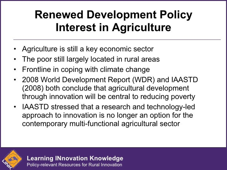 Innovation and Entrepreneurship for Poverty Reduction: Policy and Capacity Challenges in Agriculture Slide 2