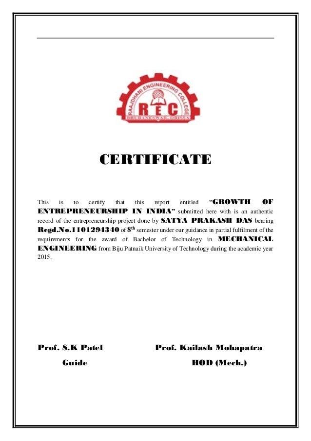 Entreprenunership Project Pdf