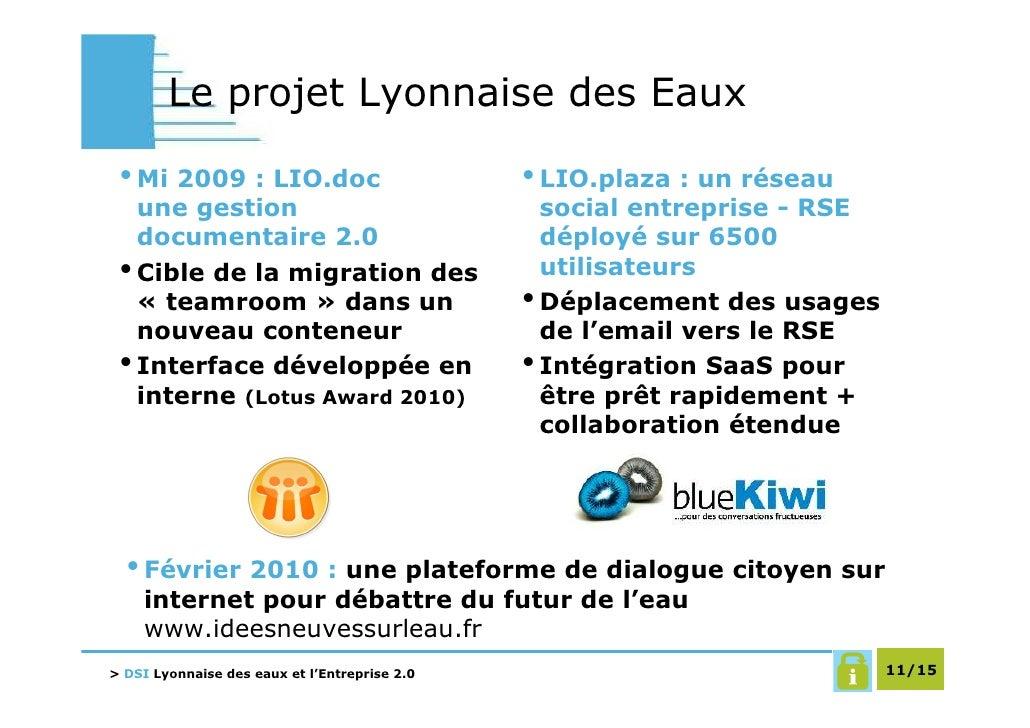 Le projet Lyonnaise des Eaux   • Mi 2009 : LIO.doc                           • LIO.plaza : un réseau    une gestion       ...
