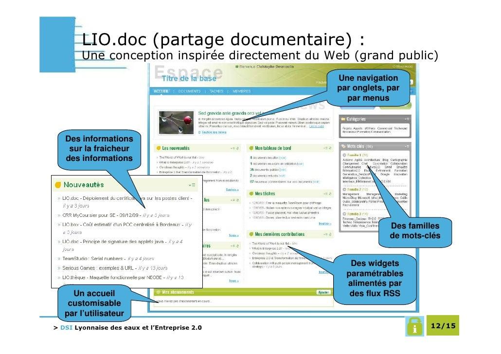 LIO.doc (partage documentaire) :         Une conception inspirée directement du Web (grand public)                        ...
