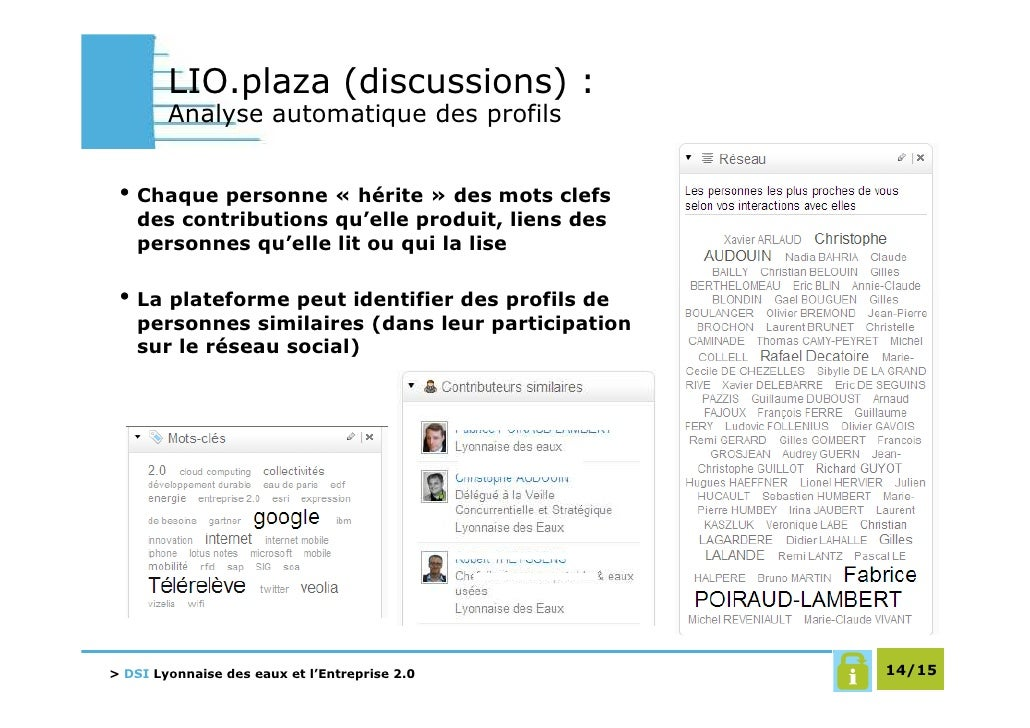 LIO.plaza (discussions) :         Analyse automatique des profils    • Chaque personne « hérite » des mots clefs    des co...