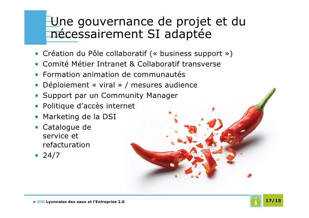 Une gouvernance de projet et du         nécessairement SI adaptée • Création du Pôle collaboratif (« business support ») •...