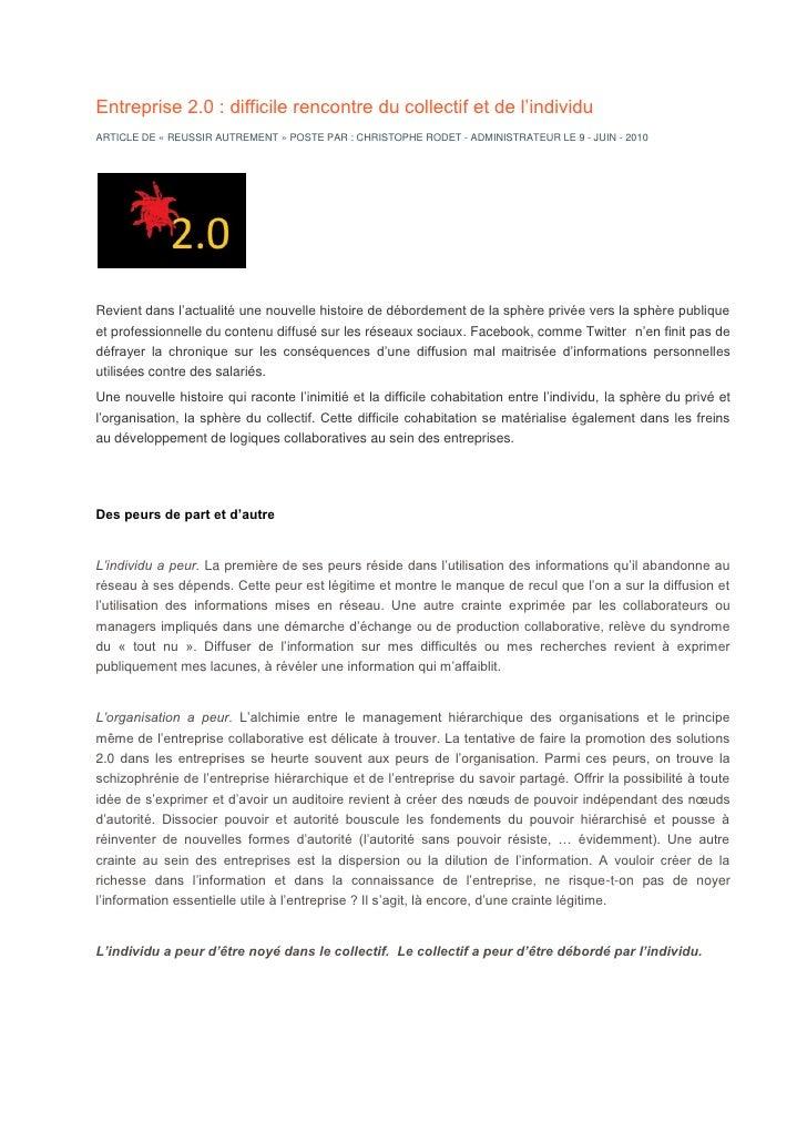 Entreprise 2.0 : difficile rencontre du collectif et de l'individu ARTICLE DE « REUSSIR AUTREMENT » POSTE PAR : CHRISTOPHE...