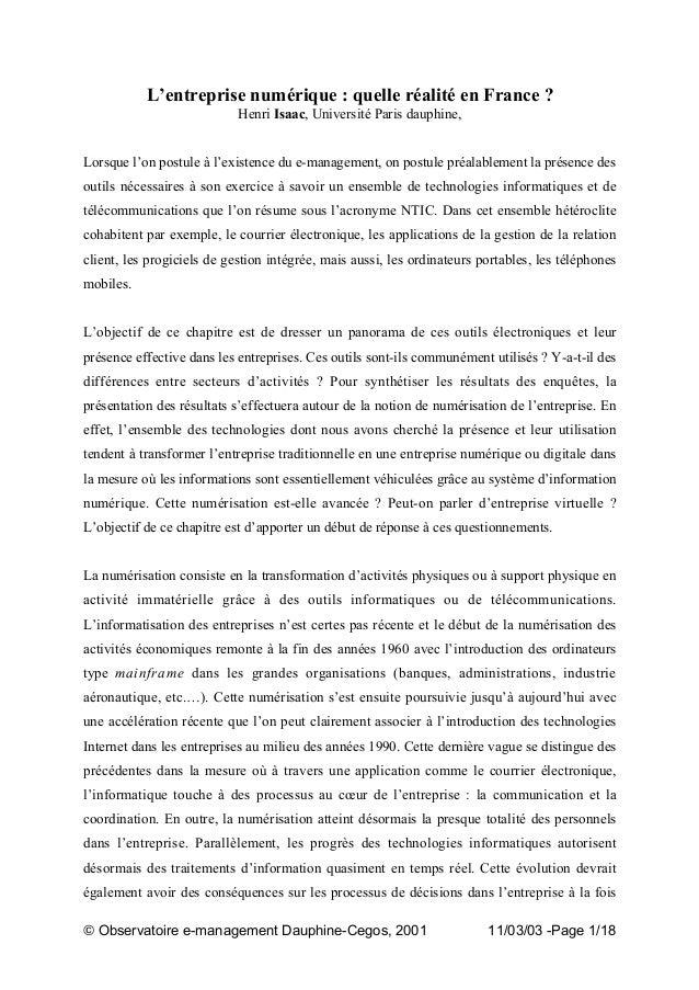 """"""" Observatoire e-management Dauphine-Cegos, 2001 11/03/03 -Page 1/18 L'entreprise numérique : quelle réalité en France ? H..."""