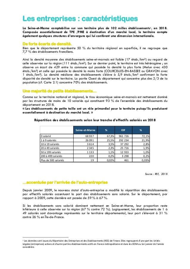 Les entreprises : caractéristiques La Seine-et-Marne comptabilise sur son territoire plus de 102 milles établissements1, e...