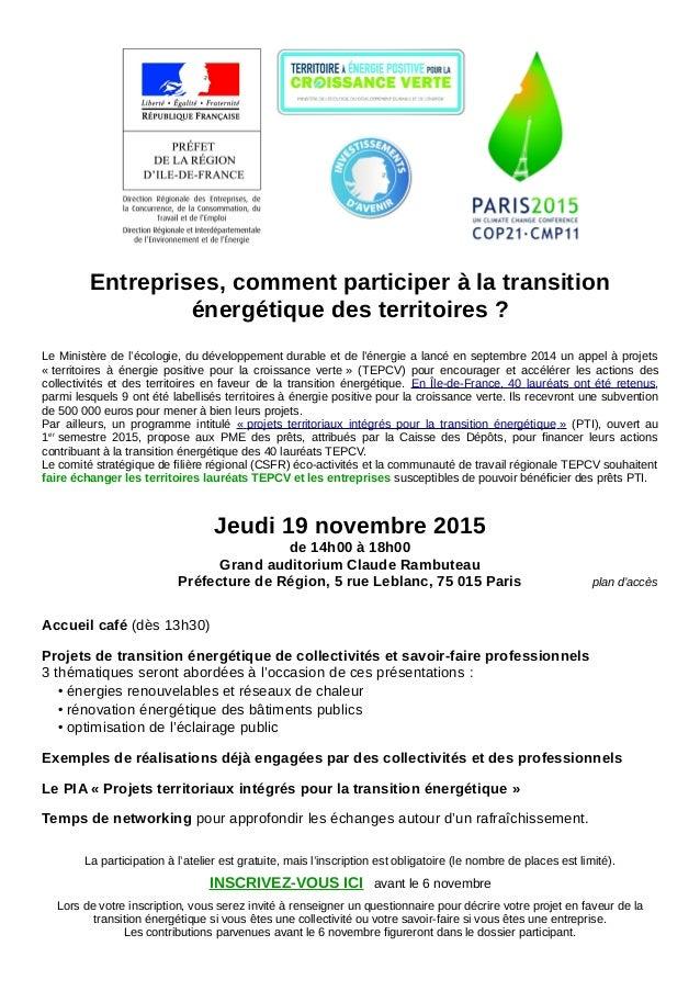 Entreprises, comment participer à la transition énergétique des territoires ? Le Ministère de l'écologie, du développement...