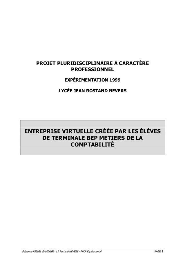 Fabienne PIGUEL GAUTHIER - LP Rostand NEVERS - PPCP Expérimental PAGE 1 PROJET PLURIDISCIPLINAIRE A CARACTÈRE PROFESSIONNE...