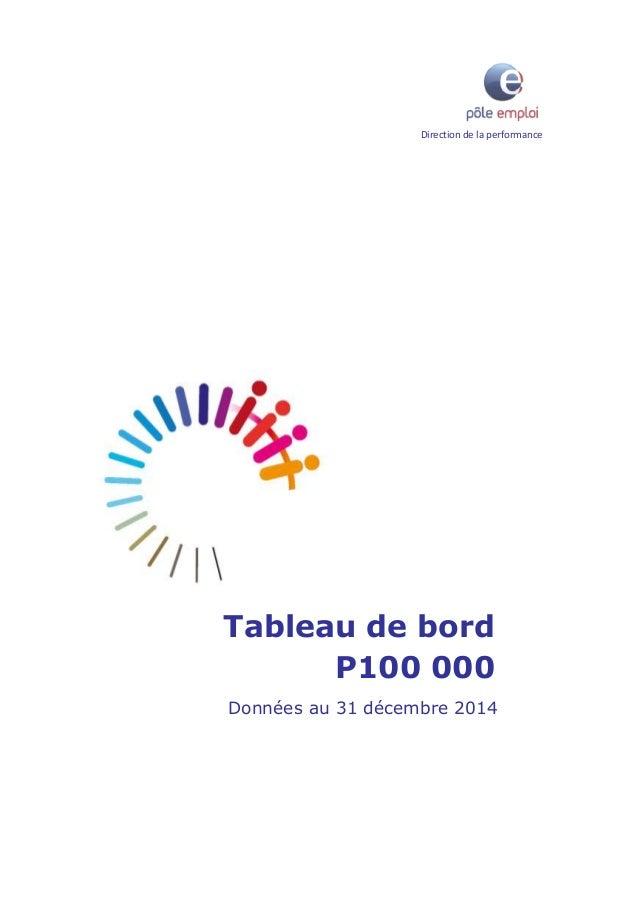 Direction de la performance Tableau de bord P100 000 Données au 31 décembre 2014