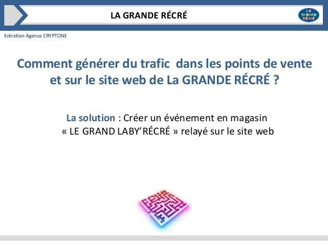 LA GRANDE RÉCRÉ Entretien Agence CRYPTONE  Comment générer du trafic dans les points de vente et sur le site web de La GRA...