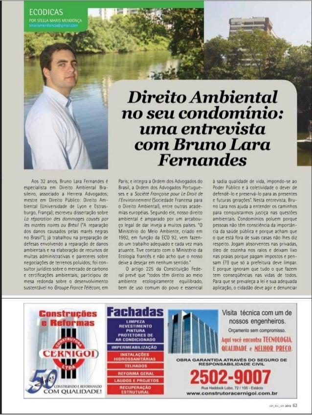 Direito Ambiental no seu condomínio: uma entrevista com Bruno Lara Fernandes