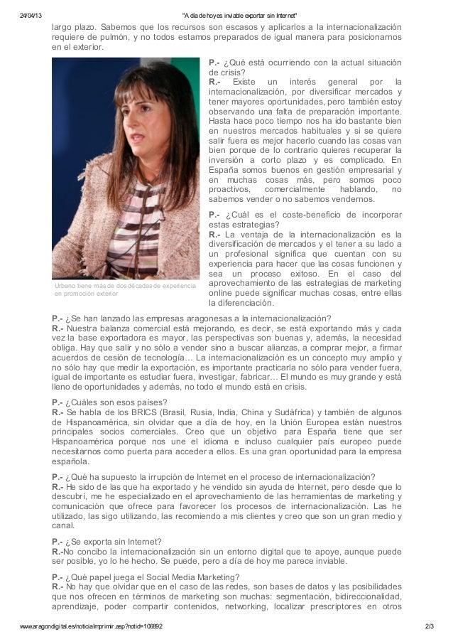 """""""A día de hoy es inviable exportar sin Internet"""". Entrevista a Carmen Urbano en Aragón Digital Slide 2"""