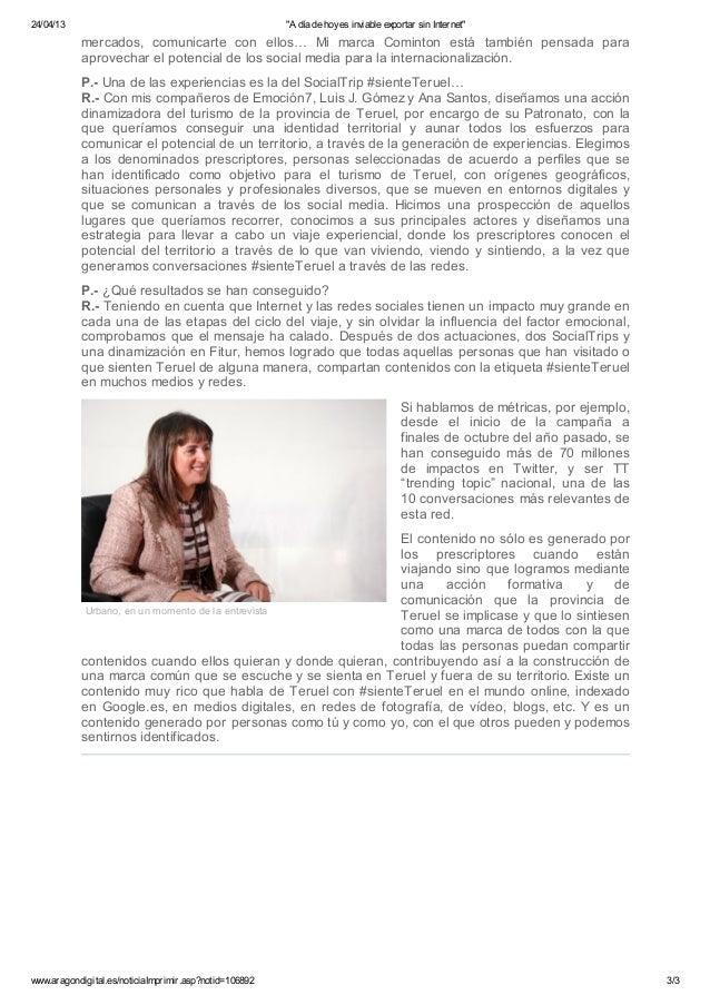 """""""A día de hoy es inviable exportar sin Internet"""". Entrevista a Carmen Urbano en Aragón Digital Slide 3"""