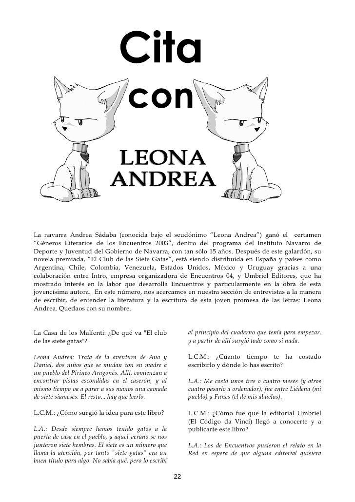 """con   La navarra Andrea Sádaba (conocida bajo el seudónimo """"Leona Andrea"""") ganó el certamen """"Géneros Literarios de los Enc..."""