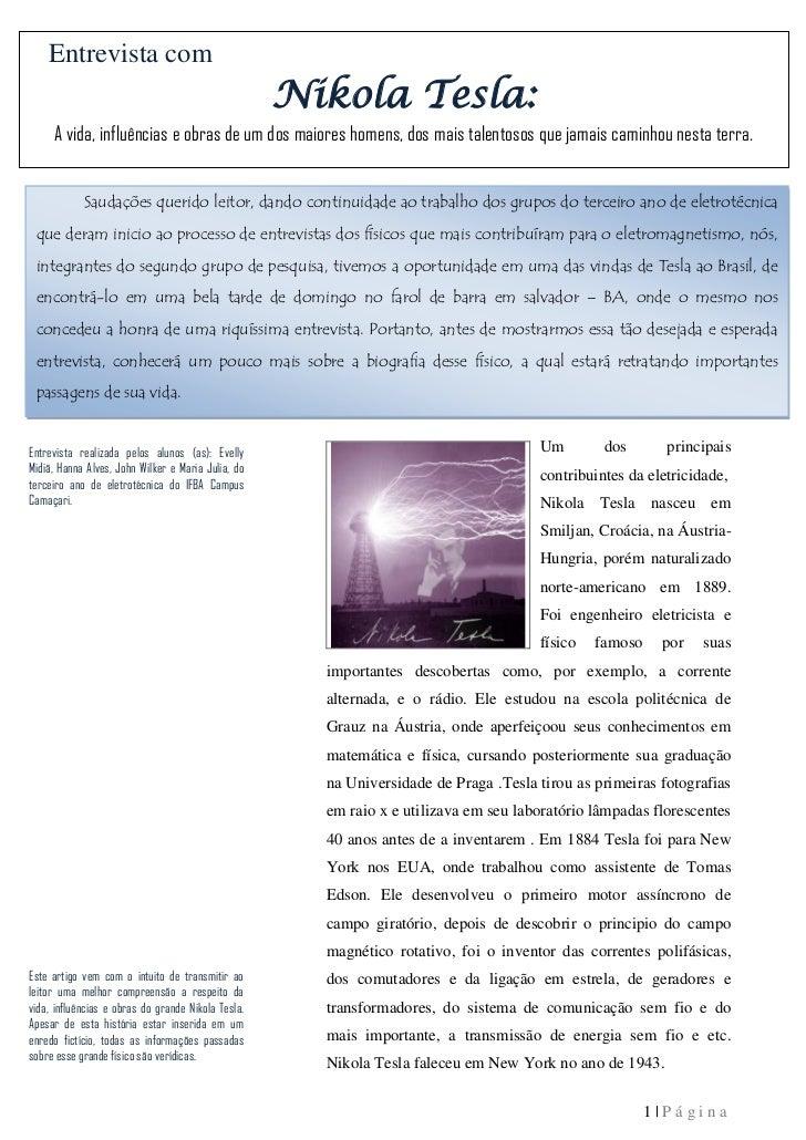 Entrevista com                                                    Nikola Tesla:     A vida, influências e obras de um dos ...