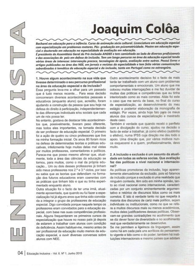 Entrevista  de Joaquim Colôa publicada na revista Educação Inclusiva