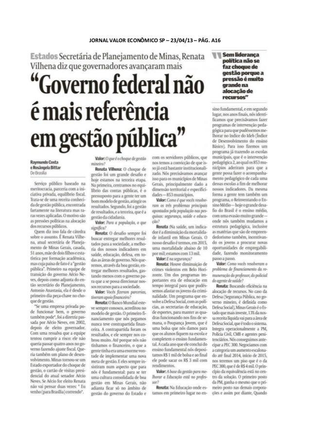 JORNAL VALOR ECONÔMICO SP – 23/04/13 – PÁG. A16