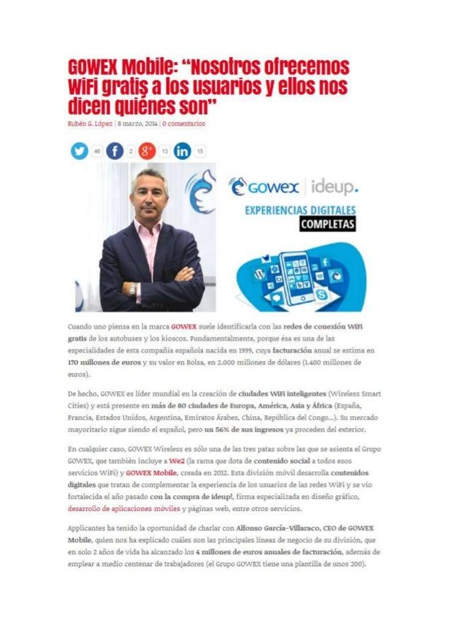 Applicantes entrevista a Alfonso García-Villaraco CEO de GOWEX Mobile
