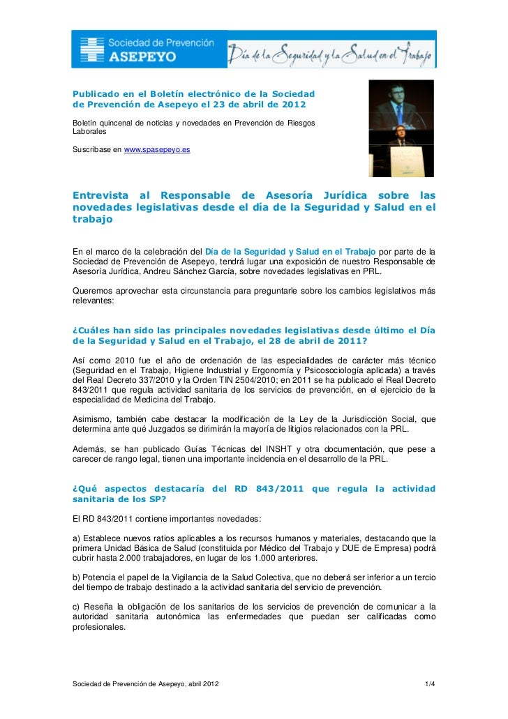 Publicado en el Boletín electrónico de la Sociedadde Prevención de Asepeyo el 23 de abril de 2012Boletín quincenal de noti...
