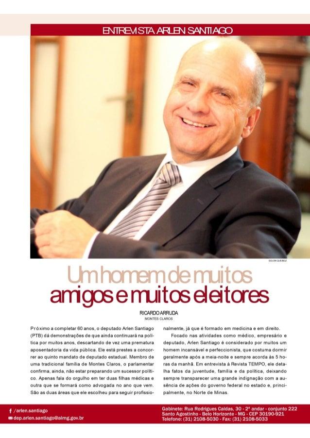 Entrevista do Deputado Arlen Santiago à Revista Tempo