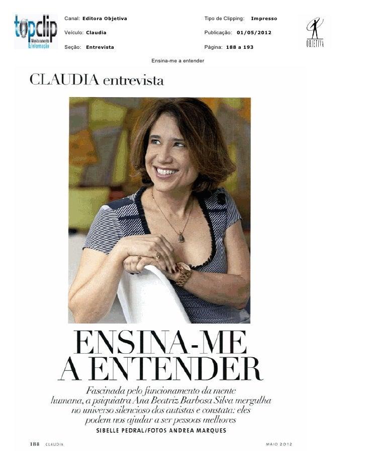 Canal: Editora Objetiva                          Tipo de Clipping:   ImpressoVeículo: Claudia                             ...