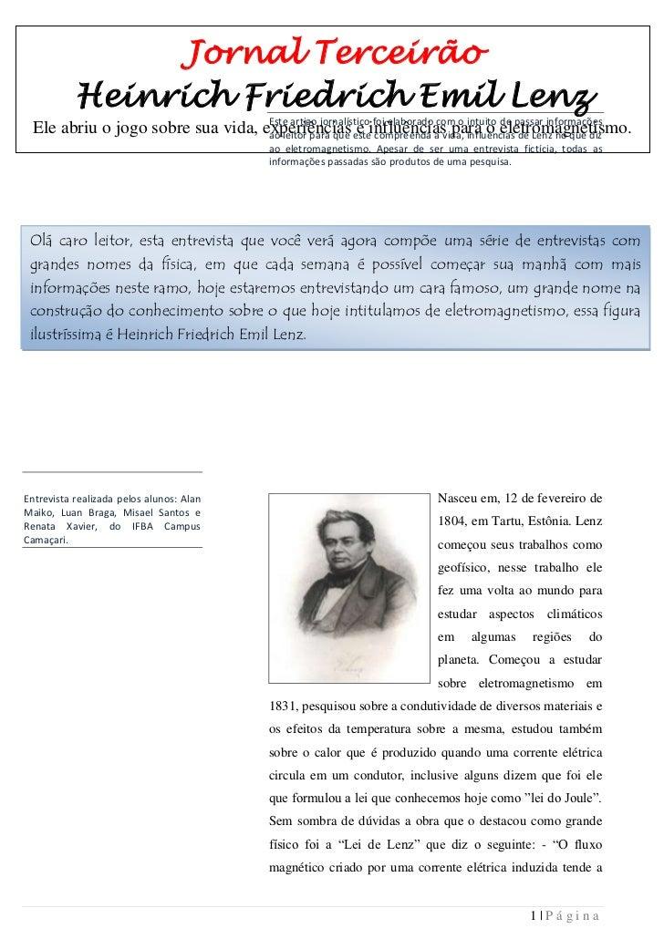 Jornal Terceirão           Heinrich Friedrich Emil Lenz                                    Este artigo jornalístico foi el...