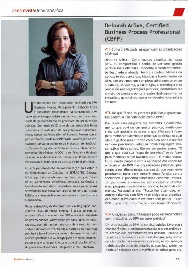 Entrevista Sobre BPM com Deborah Arôxa
