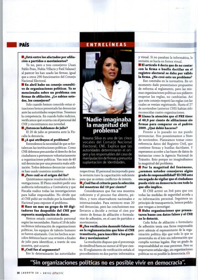 Entrevista a Dra. Roxana Silva Ch. en Revista Vistazo