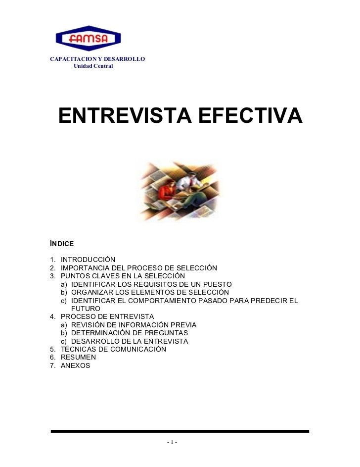 CAPACITACION Y DESARROLLO      Unidad Central  ENTREVISTA EFECTIVAÍNDICE1. INTRODUCCIÓN2. IMPORTANCIA DEL PROCESO DE SELEC...
