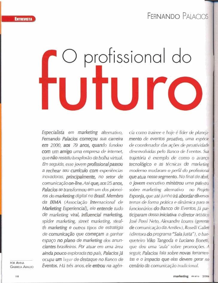 FERNANDO PALACIO          Eãpeciar'istb em marketing a      F m n d a Pdaciix comqou sua carreira          mente   de even...