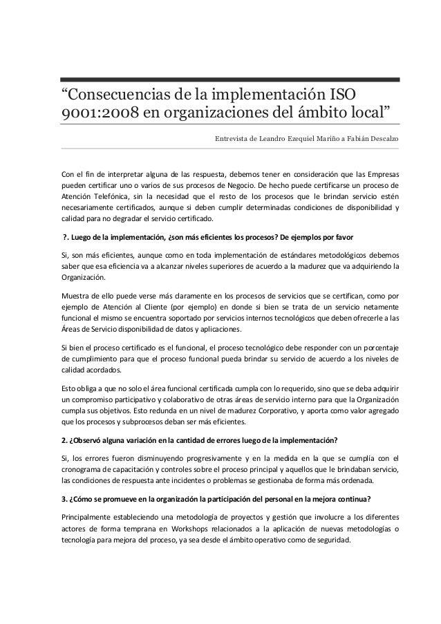 """""""Consecuencias de la implementación ISO 9001:2008 en organizaciones del ámbito local"""" Entrevista de Leandro Ezequiel Mariñ..."""