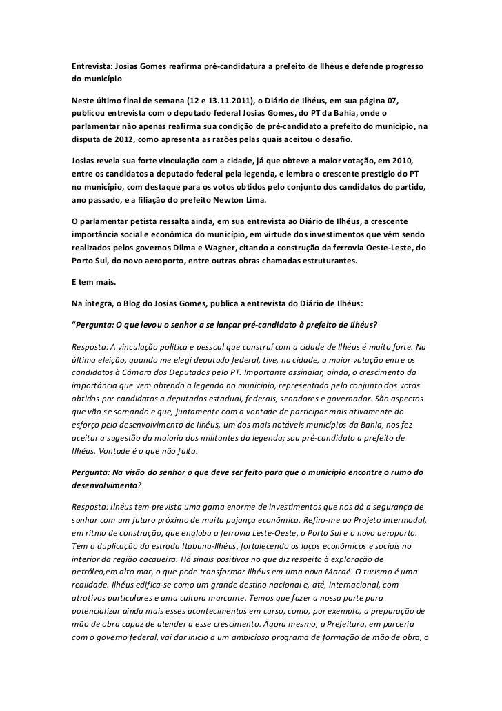 Entrevista Josias Gomes ao Diário de Ilhéus