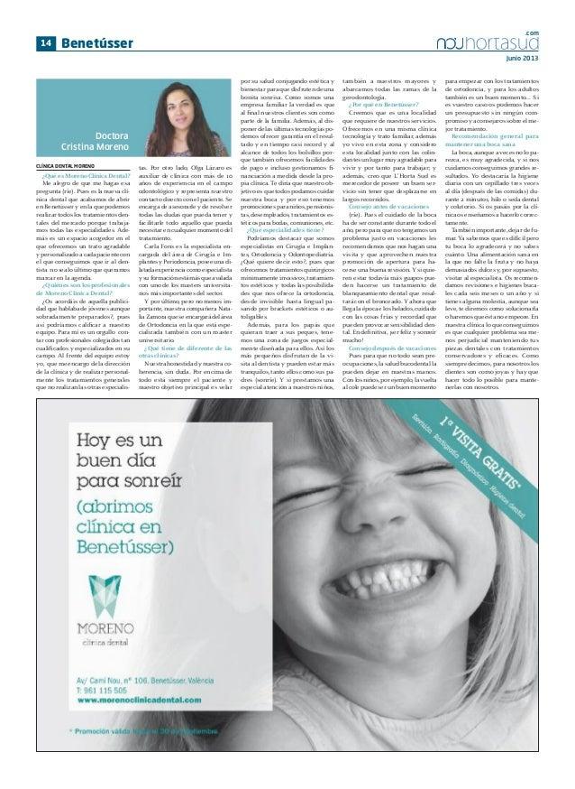 .com  14  Benetússer Junio 2013  Doctora Cristina Moreno CLÍNICA DENTAL MORENO  ¿Qué es Moreno Clínica Dental? Me alegro d...