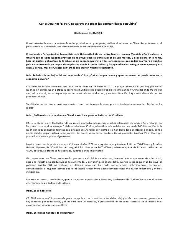 """Carlos Aquino: """"El Perú no aprovecha todas las oportunidades con China"""" * (Publicado el 03/06/2013) El crecimiento de nues..."""
