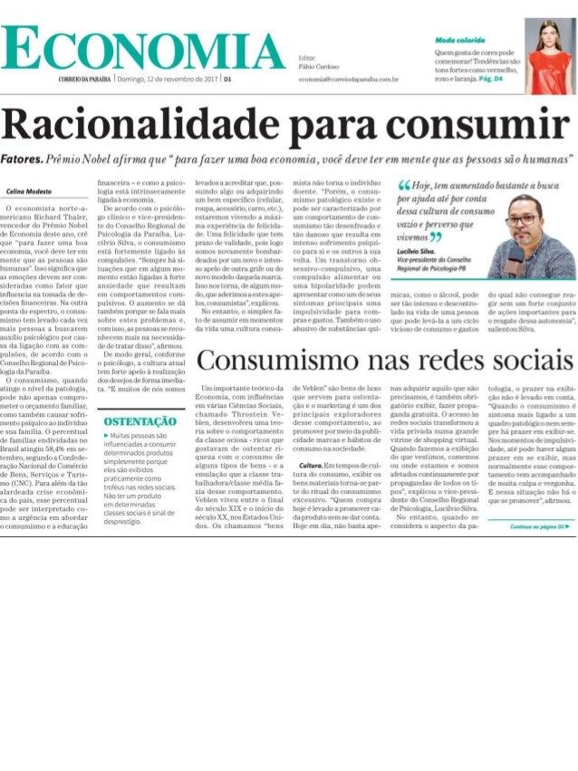 Entrevista sobre consumo, consumismo, hipótese de mercados eficientes, finanças comportamentais e muito mais