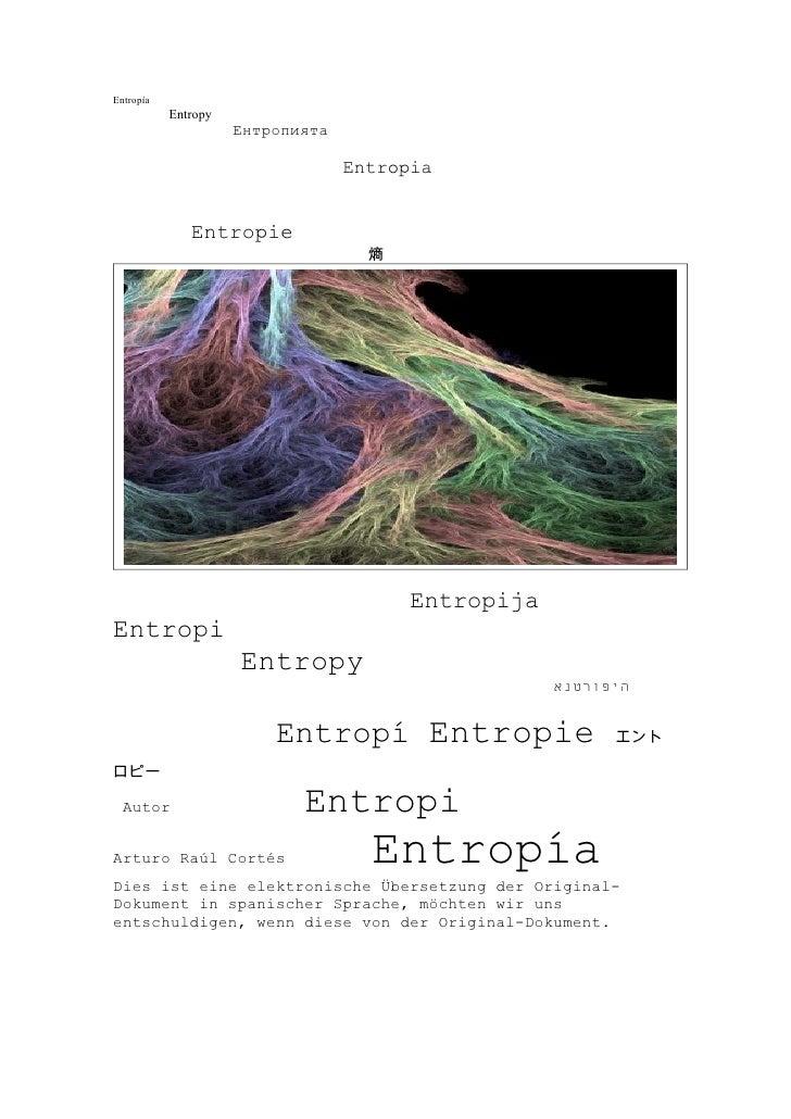 Entropía            Entropy                      Ентропията                                    Entropia                 En...