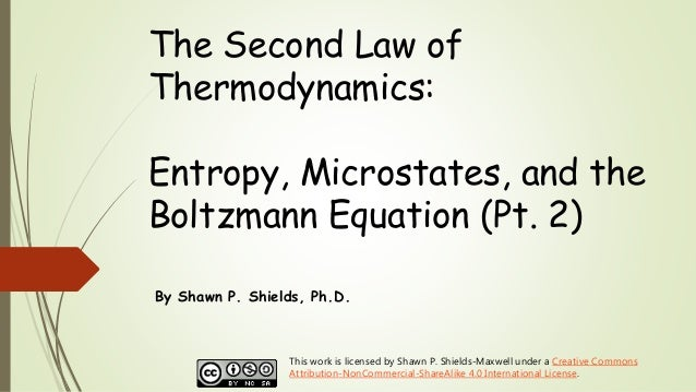 The Second Law of Thermodynamics: Entropy, Microstates, and the Boltzmann Equation (Pt. 2) By Shawn P. Shields, Ph.D. This...