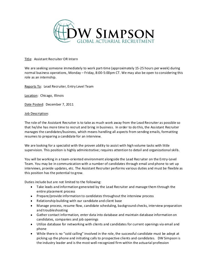 Entry Level Office Assistant Resume Inspiration Entry Level Assistant Recruiter Or Intern Job Description