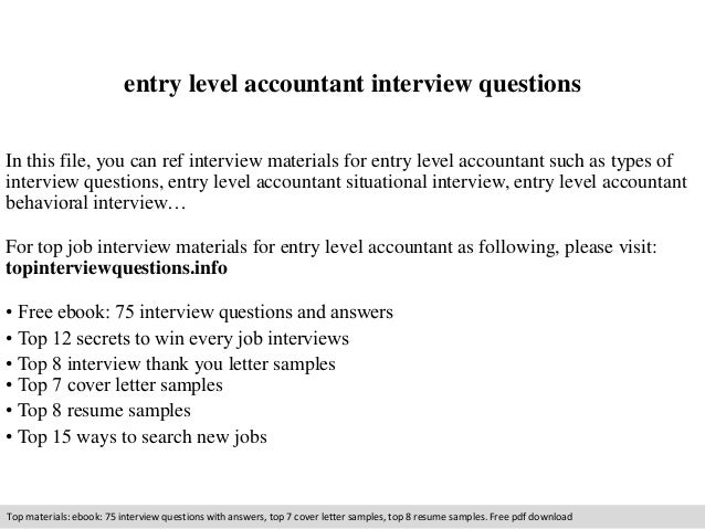 Cover Letter For Entry Level Accounting Accountant Interview Questions