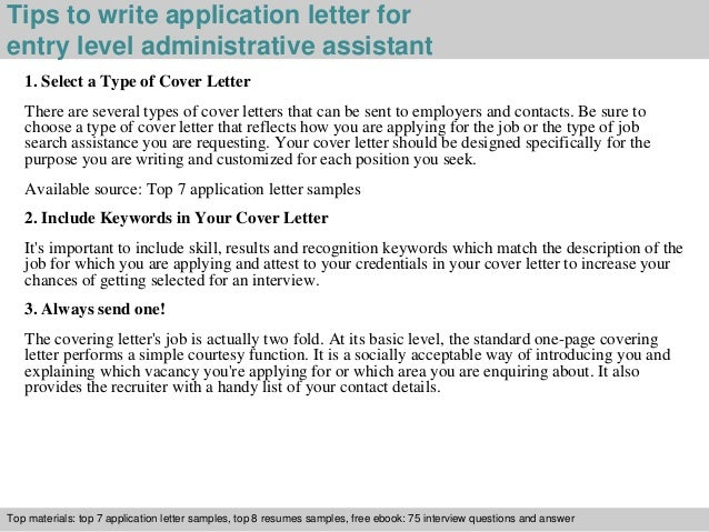 3 tips to write application letter for entry level administrative assistant. Resume Example. Resume CV Cover Letter