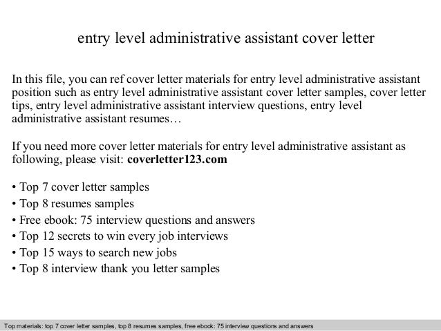 Cover Letter For Entry Level Administrative Assistant Job Entry