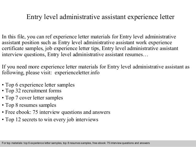 cover letter for entry level administrative assistant no experience ...