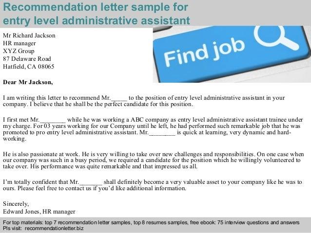 2 recommendation letter sample for entry level - Entry Level Hr Resume
