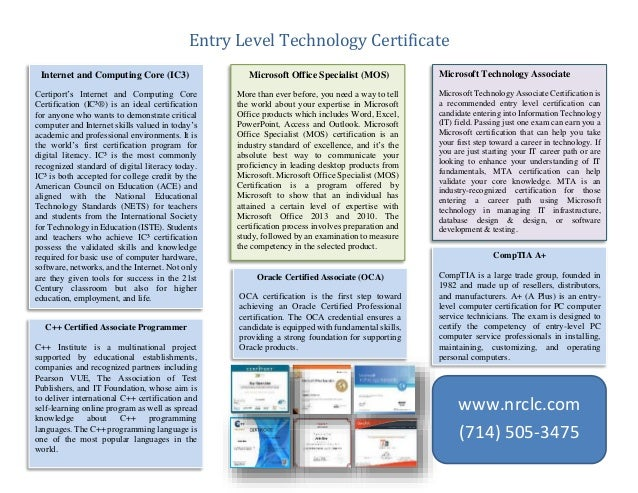 Entry level Information Technology certification
