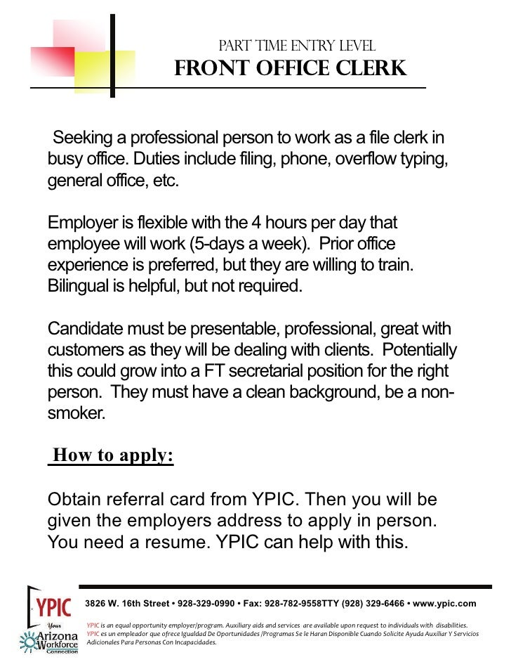 entry level file clerk description